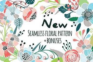 Seamless floral pattern + bonuses!