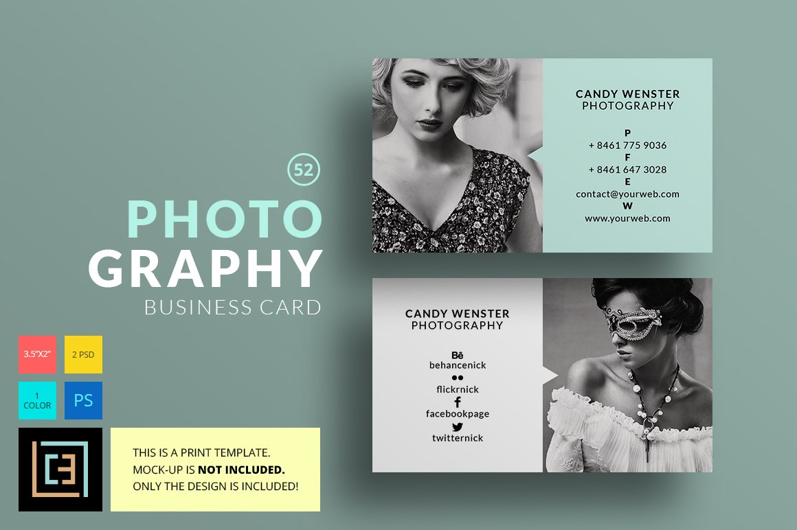 Photography business card 52 business card templates for Cool photography business card