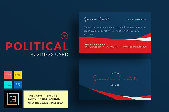 Political business card 38 business card templates creative market reheart Images
