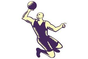 Basketball Player Dunk Ball Woodcut