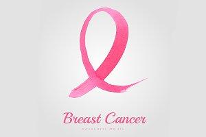 Watercolor pink ribbon poster