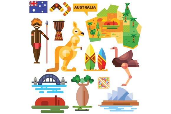 Australian National Symbols Illustrations Creative Market