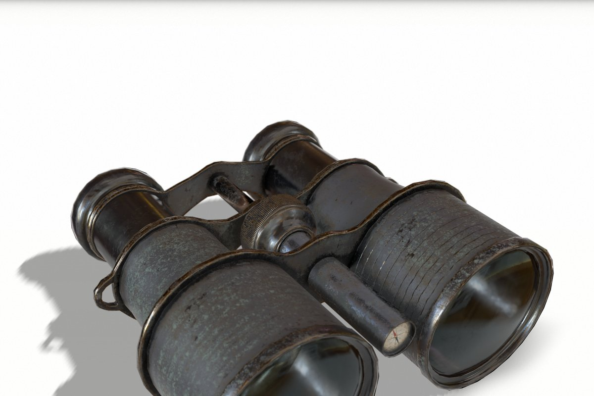 Black Vintage Binocular in 3D - product preview 5