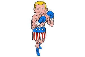 Boxer Pose USA Flag Etching