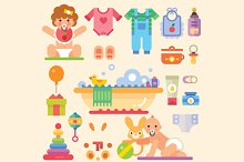 Newborn babies with toys