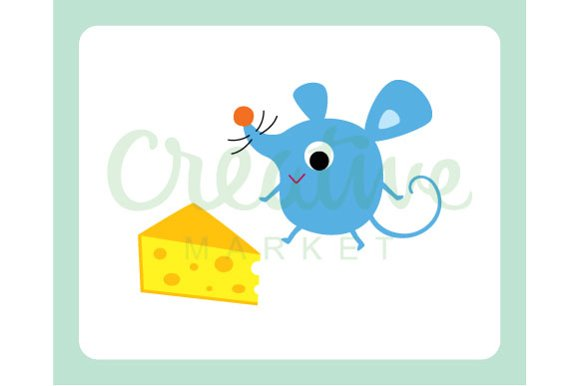 Cute Mouse And Cheese Vector