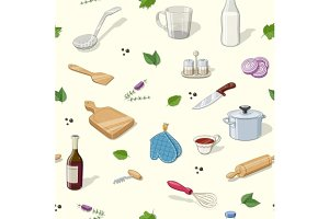 Kitchen utensils. Seamless pattern