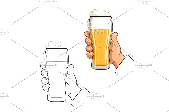 Glass of beer in hand