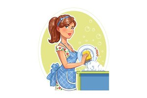 Beautiful girl washing plate.