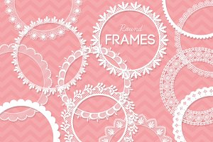 12 Round Lace Frames Clip Art I