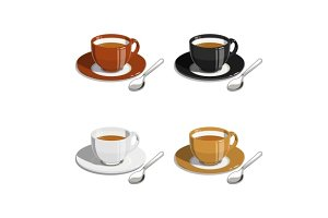 Cup of coffee. Set of vector illustrations