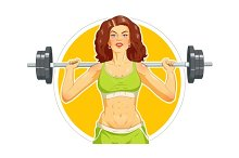 Girl doing fitness exercise with barbell