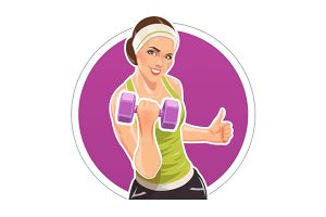 Girl with dumbbells for fitness