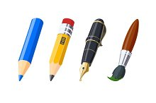 Pencils, pen and brush. Set of icons