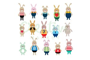 Cute Bunny Vector Set