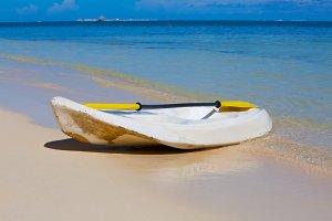 Canoe on the ocean beach