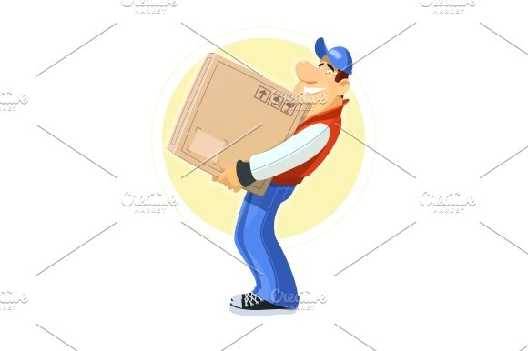 Loader with box. Delivery service.