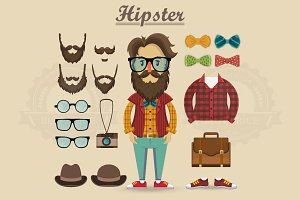 Hipster character and  elements