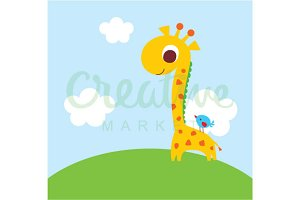 Cute Giraffe And Bird Vector