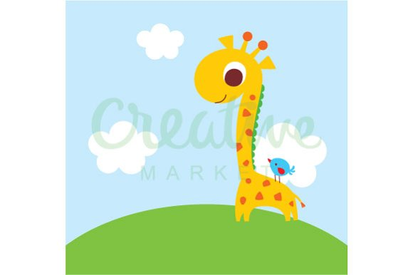 Cute Giraffe And Bird Vector in Illustrations