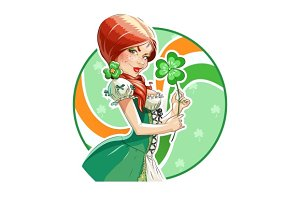 Beautiful girl with shamrock for saint Patricks day