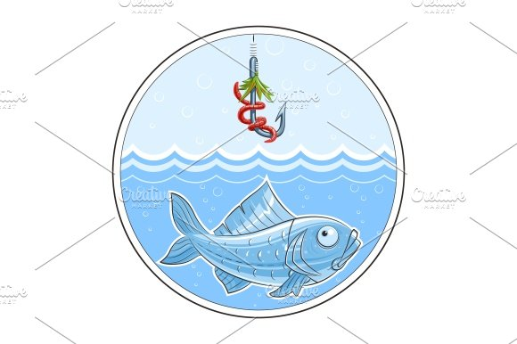 Fishing. Fish in water and fishhook - Illustrations