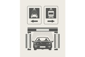 Car wash. Set of vector icons