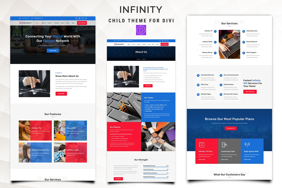 Infinity - Telecom Divi Child Theme