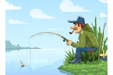 Fisherman with rod fishing on river