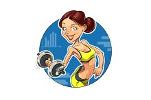 Fitness. Sporting girl with dumbbells