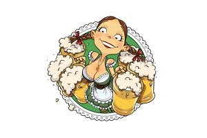 Oktoberfest girl with glass of beer