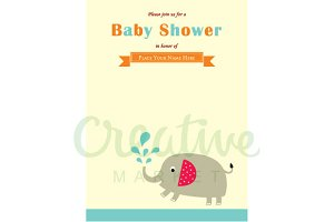 Elephant Baby Shower Card Vector