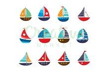 Cute Yacht Vector Set