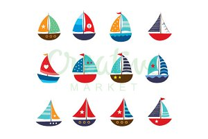 Cute Yacht Vector Set