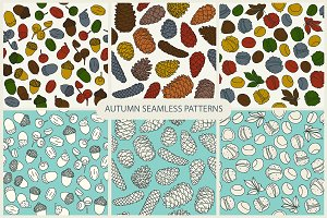 6 autumn seamless patterns
