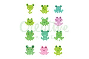 Cute Frog Vector Set