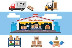 Warehouse flat vector illustration.