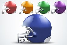 American Football Helmets Side View
