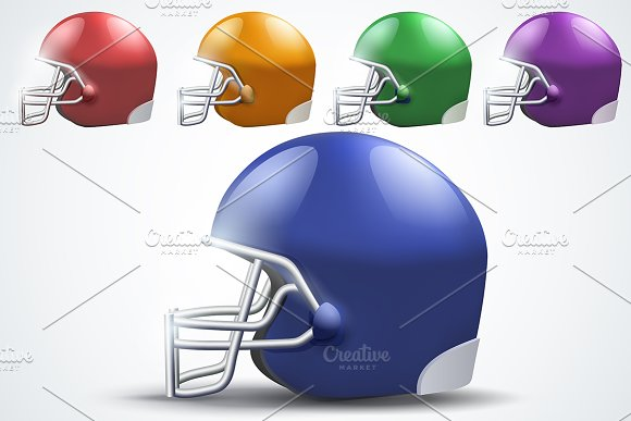American Football Helmets Side View
