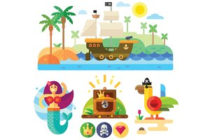 Pirate theme vector illustration set