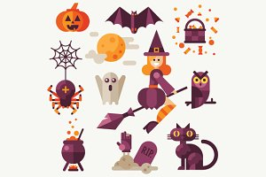 Halloween flat vector icon set.
