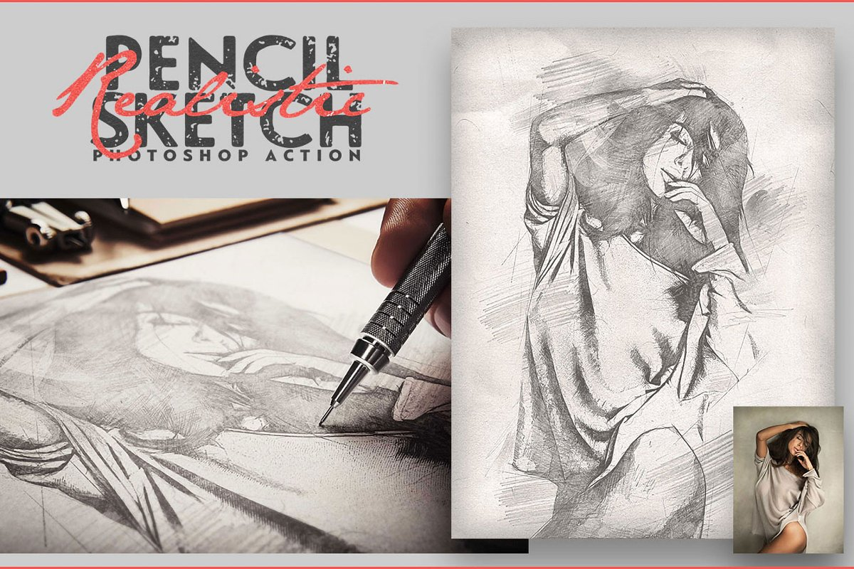 Realistic Pencil Sketch CS3+ in Add-Ons - product preview 2