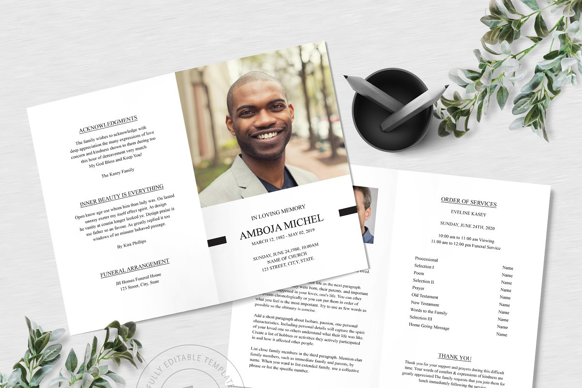 Printable Funeral Program Template Invitation Templates