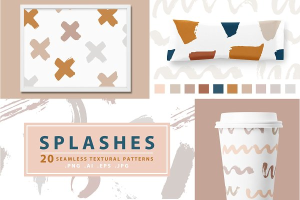 Splashes 20 Vector Seamless Patterns
