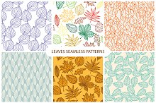 6 autumn leaves seamless pattern