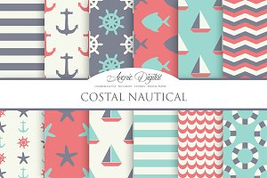 Vintage Nautical Digital Paper Pack