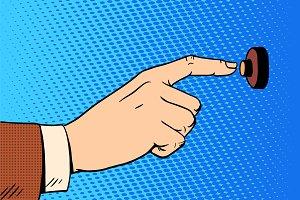 hand presses call button