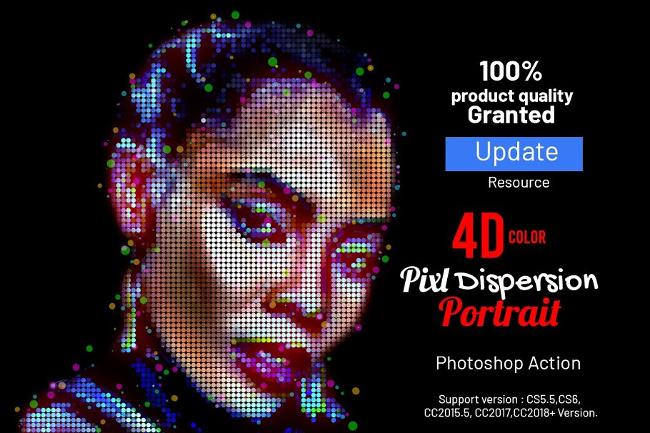 4D Color Pixel Portrait Action