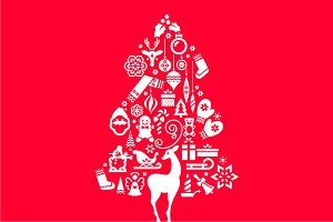 Christmas Tree Illustration. Icons