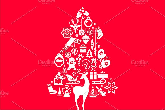 Christmas Tree Illustration. Icons - Icons